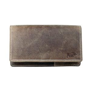 Cognac buffelleren portemonnee, groot model