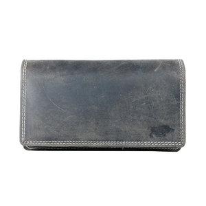 Donkerbruine buffelleren portemonnee, groot model