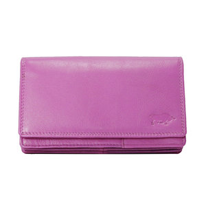 Leren RFID harmonica portemonnee, roze - Arrigo