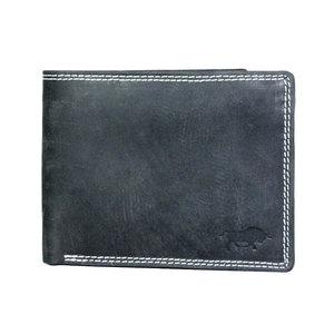 Billfold portemonnee van zwart buffelleer - Arrigo