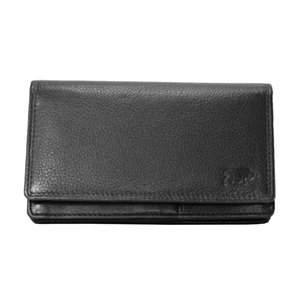 Leren RFID harmonica portemonnee, zwart - Arrigo