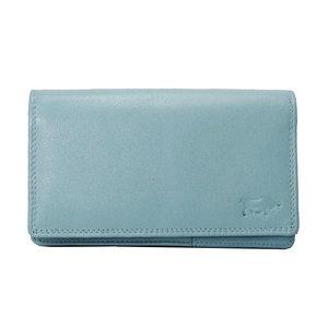 Leren RFID harmonica portemonnee, lichtblauw - Arrigo