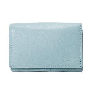 Rundleren RFID portemonnee medium size, lichtblauw - Arrigo