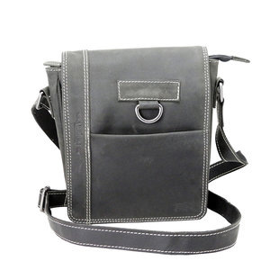Zwart buffelleren schoudertas met klep - Arrigo