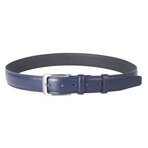 Donkerblauwe leren riem met kleine gesp - Arrigo