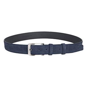 Suede riem in de kleur donkerblauw - Arrigo