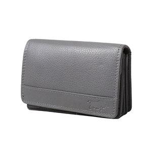Rundleren RFID harmonica portemonnee met losgeld vakje, grijs - Arrigo