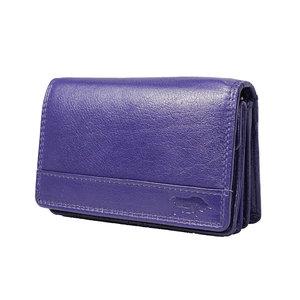 Rundleren RFID harmonica portemonnee met losgeld vakje, aubergine - Arrigo