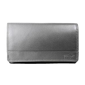 Rundleren harmonica portemonnee met losgeld vak, grijs - Arrigo