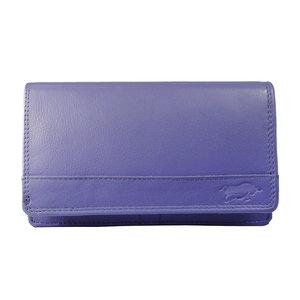 Rundleren harmonica portemonnee met losgeld vak, paars - Arrigo