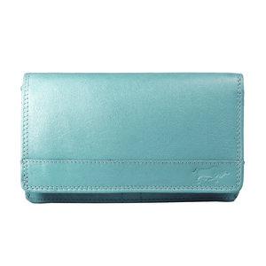 Rundleren harmonica portemonnee met losgeld vak, lichtblauw - Arrigo