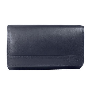 Rundleren RFID harmonica portemonnee met losgeld vak, donkerblauw - Arrigo