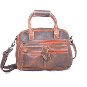 Westernbag van cognac buffelleer, medium model