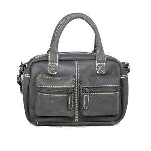 Westernbag van zwart buffelleer, compact model