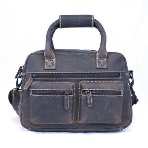 Westernbag van zwart buffelleer, medium model