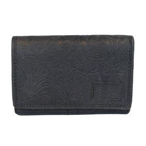 Dames portemonnee van zwart rundleer met bloemenprint - Arrigo