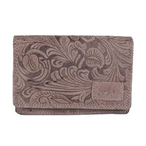 Dames portemonnee van cognac rundleer met bloemenprint - Arrigo