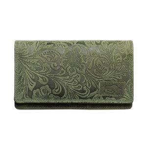Groene dames portemonnee van rundleer met bloemenprint - Arrigo