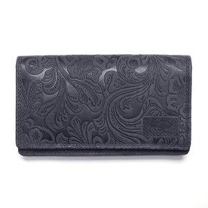 Donkerblauwe dames portemonnee van rundleer met bloemenprint - Arrigo