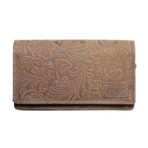 Naturel dames portemonnee van rundleer met bloemenprint - Arrigo