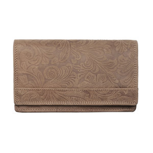 Bloemenprint dames portemonnee in de kleur cognac - Arrigo