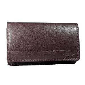 Rundleren RFID harmonica portemonnee met losgeld vak, bordeaux rood - Arrigo