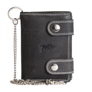 Portemonnee met ketting van zwart buffelleer - Arrigo