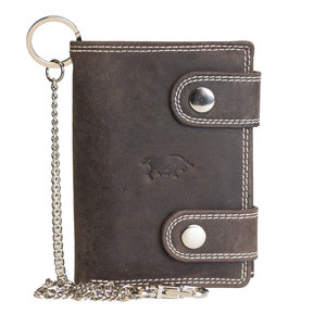 Portemonnee met ketting van donkerbruin buffelleer - Arrigo