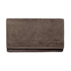 RFID Dames portemonnee met bloemenprint in de kleur cognac - Arrigo