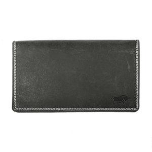 Ruime harmonica portemonnee gemaakt van zwart buffelleer - Arrigo