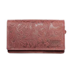 Ruime RFID dames portemonnee van rood leer met een bloemenprint