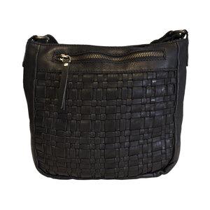 Zwarte Schoudertas Voor Dames Van Gevlochten Leer - Arrigo