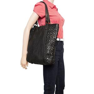 Zwarte Leren Shopper Voor Dames Van Gevlochten Leer - Arrigo