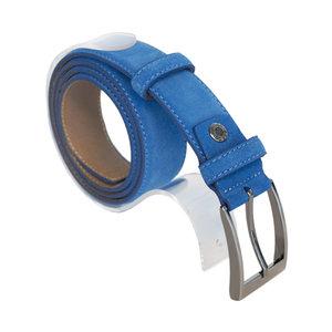 Suede riem - blauw 3.5 cm breed - Arrigo