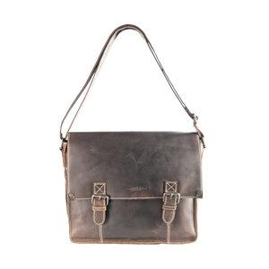 Messenger bag van donkerbruin buffelleer - Arrigo.nl