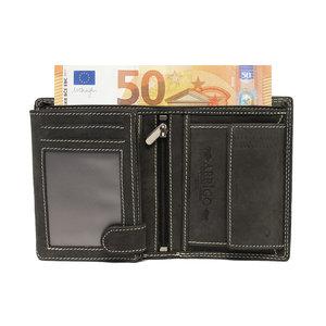 Billfold heren portemonnee van zwart buffelleer - Arrigo.nl