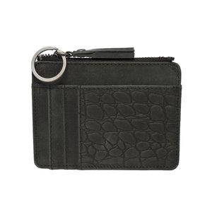 Pasjeshouder mini portemonnee van zwart leer - Arrigo.nl
