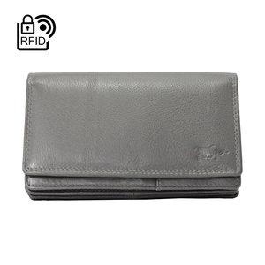 Leren RFID harmonica portemonnee, grijs - Arrigo