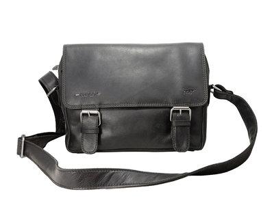 Leren messenger bag zwart Arrigo