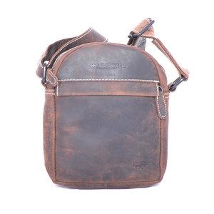Bruin schoudertasje van buffelleer - Arrigo