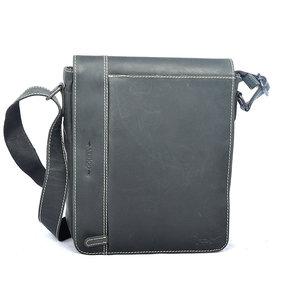 Grote zwarte buffelleren schoudertas met klep - Arrigo