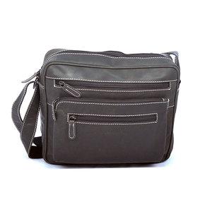 Zwarte schoudertas van buffelleer - Arrigo