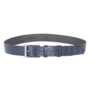 Leren riem 3.5 cm met croco-print, donkerblauw - Arrigo