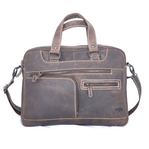 Messenger bag donkerbruin buffelleer -  Arrigo