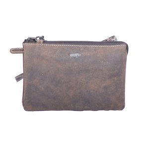 Donkerbruin buffelleren portemonnee tasje XL - Arrigo