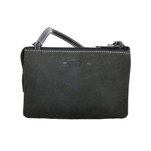 Zwart buffelleren portemonnee tasje XL - Arrigo