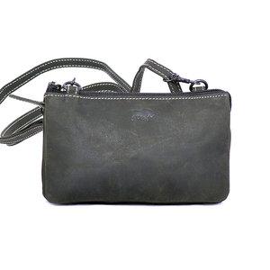 Zwart buffelleren portemonnee tasje - Arrigo