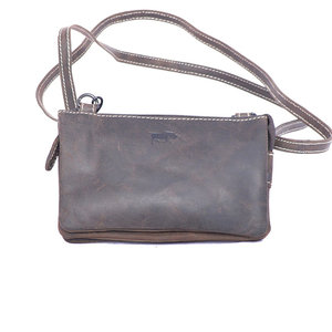 Donkerbruin buffelleren portemonnee tasje - Arrigo