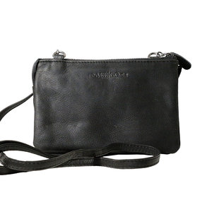 Zwart rundleren portemonnee tasje - Arrigo