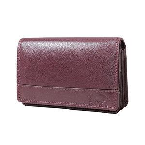 Rundleren harmonica portemonnee met losgeld vakje, burgundy - Arrigo